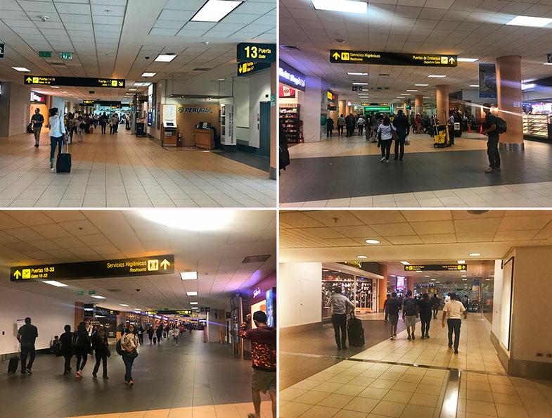 Corredores internos do aeroporto de Lima