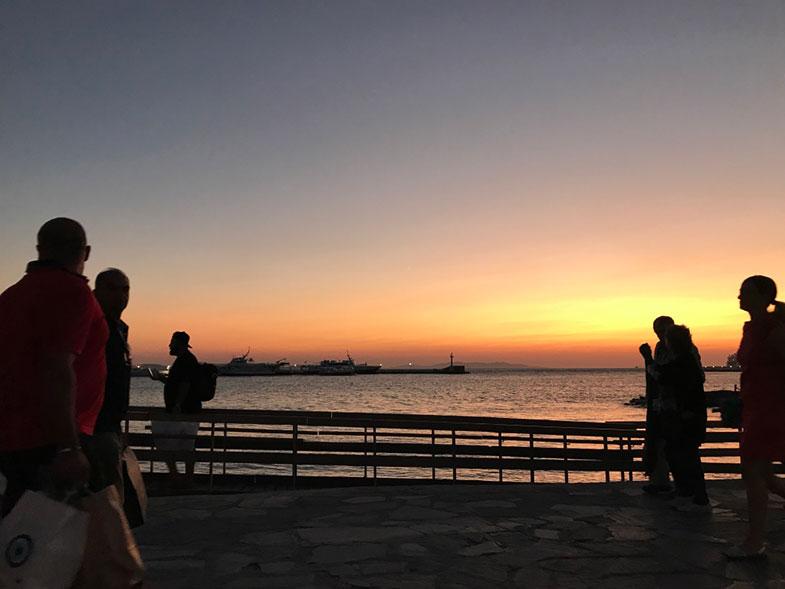 Por do sol depois de um passeio de quadriciclo em Mykonos