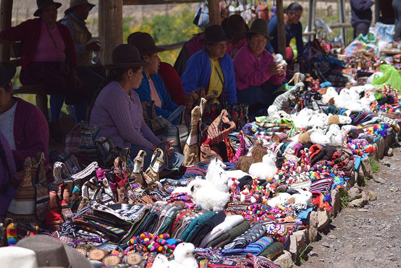 Ambulantes em Pisaq no Vale Sagrado