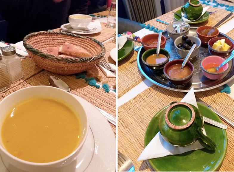 Café da manhã de hotel no Marrocos