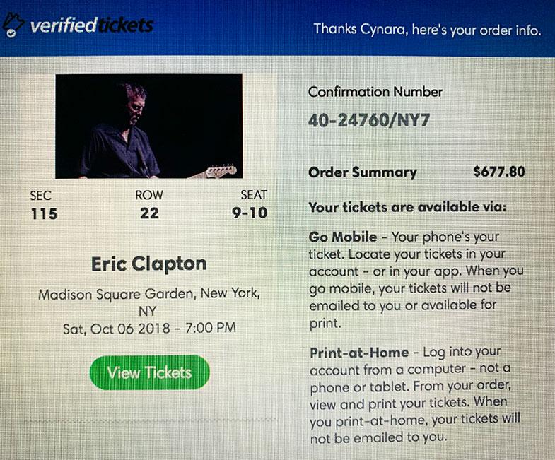 Show de Eric Clapton em New York