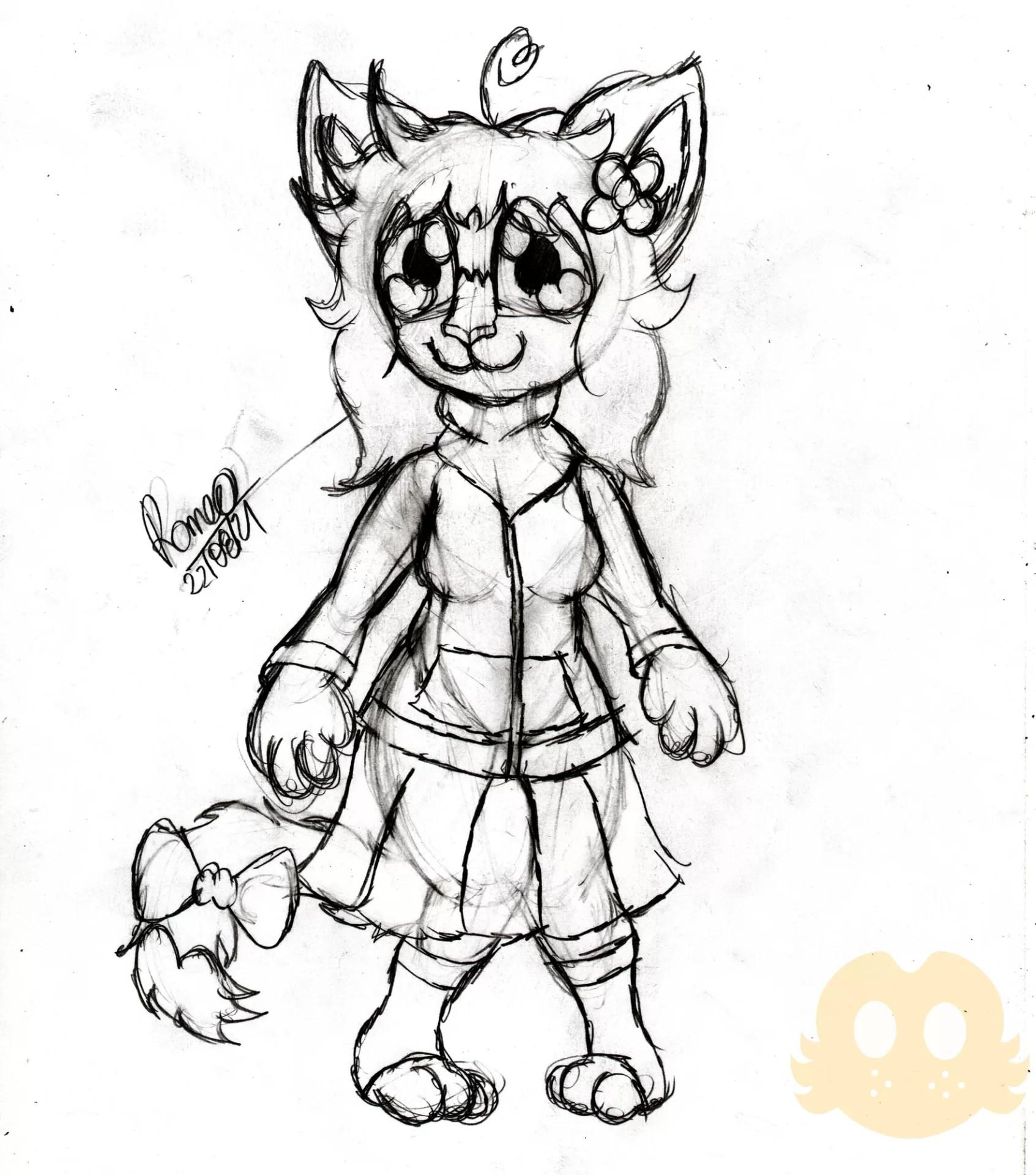 Desenho da Flora com a roupa padrão dela