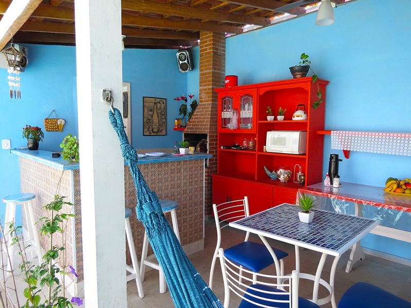 Area Gourmet e Churraqueira da Pousada Canto Azul Praia de Pernambuco Guaruja SP