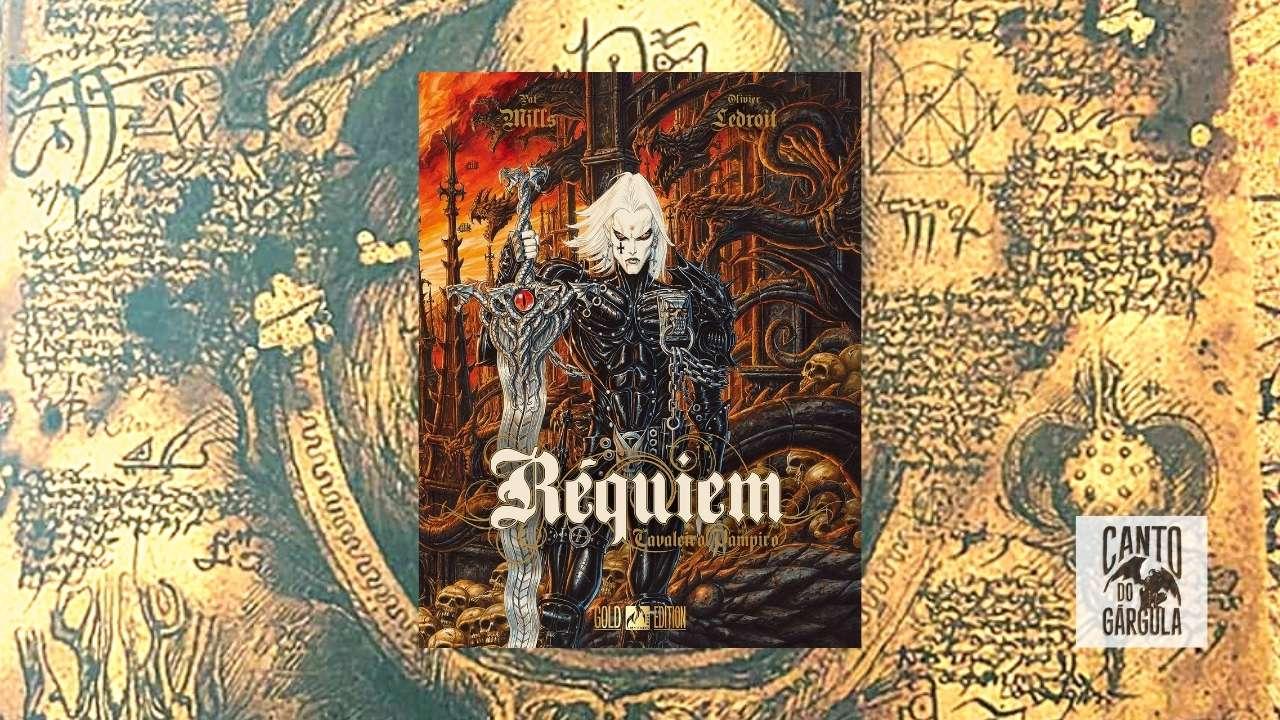 Capa com um vampiro cavaleiro armadurado segurando uma enorme espada com a lâmina ondulada. Ao fundo detalhes de gárgulas terríveis.