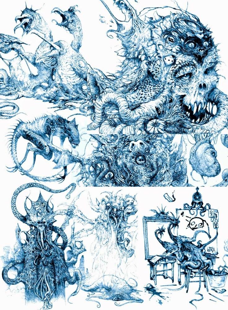 Monstruosidades em traço azulado