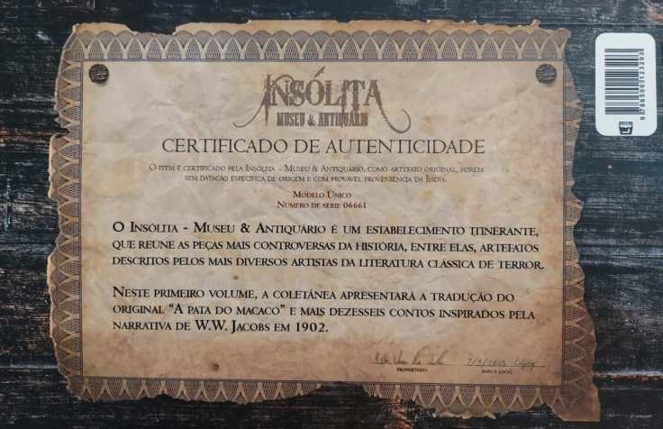 Insólita Volume 1 - A Pata do Macaco - Organizadores Julia do Passo Ramalho e Babi Lacerda - Luva Editora