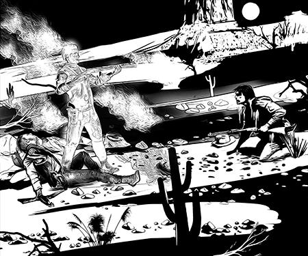 Homens em um duelo e um deles morto. O espírito do morto está de pé com o rifle em punho.