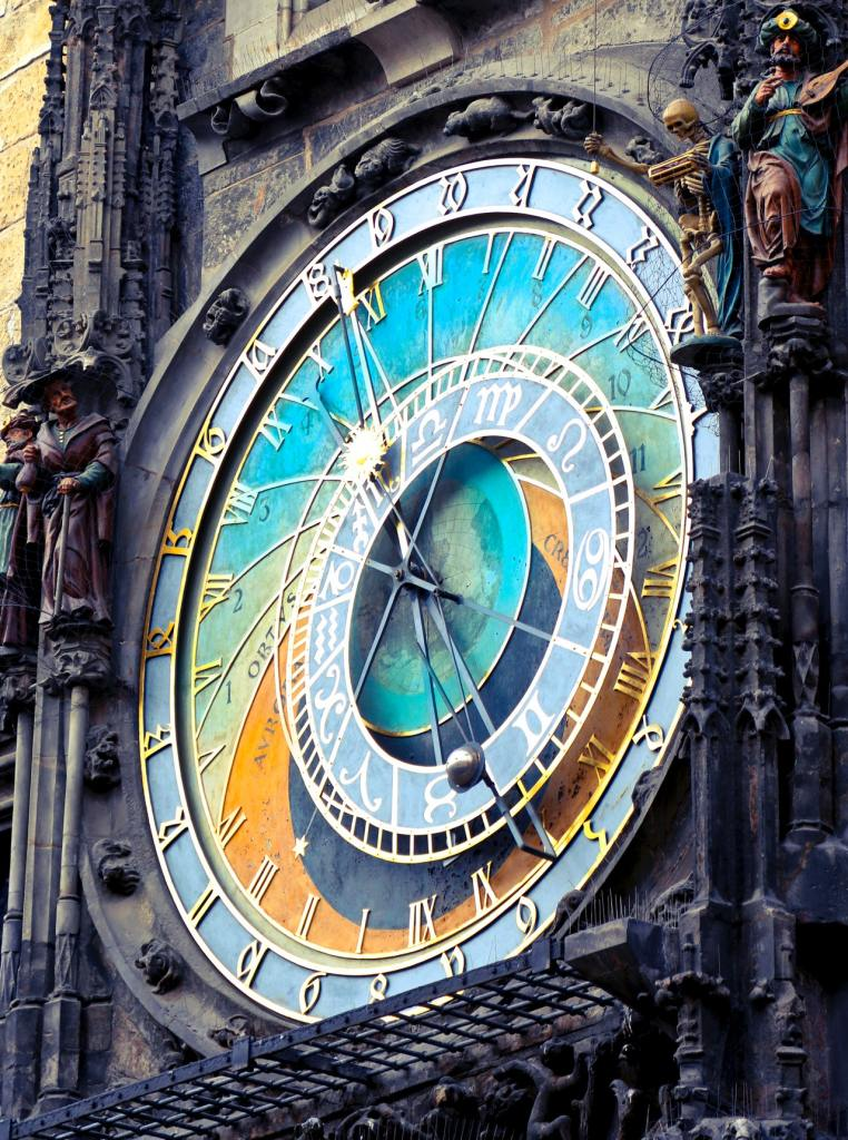 Colorful clock on clock tower