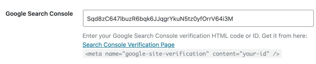 Google Search Console ID