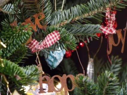 'Love', 'Hope' and 'Joy' ... Christmas blessings that I found in a shop here. They are tiny and delicate, rustic and sweet.