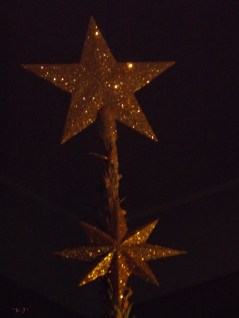 Simple gold stars pick up bits of light, just like the stars in the heavens.