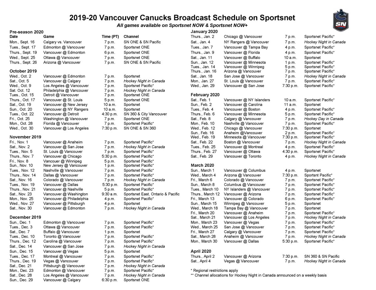 photograph regarding Printable Red Wings Schedule called Canucks 2019-20 broadcast program launched