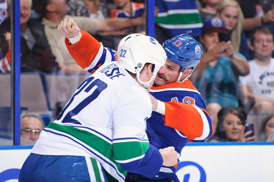 Weise and Brown Reacquainting Themselves - courtesy of Canucks.com
