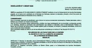 Cañuelas, declarar no laborable y feriado el día 22 de enero de2020 por conmemorarse el Aniversario de su creación.