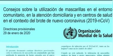 Coronavirus (2019nCoV) utilización de mascarillas o Barbijos  por  la Organización Mundial de la Salud.