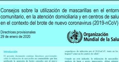 , Coronavirus (2019nCoV) utilización de mascarillas o Barbijos  por  la Organización Mundial de la Salud., Cañuelas Noticias-CNoticias de Argentina