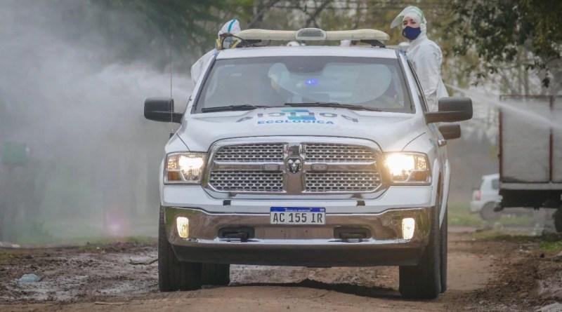 Cañuelas COVID-19 : Operativo de desinfección de la Policía Ecológica.