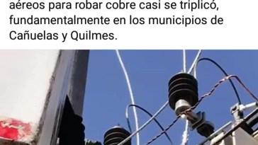 Edesur Cañuelas: en comunicación Oficial, culpó a los Municipios de Cañuelas y el de Quilmes por el robo de los Transformadores.