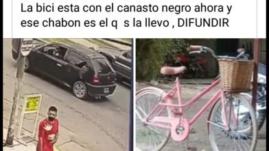 Cañuelas, robaron una bicicleta de una empleada de un Super Chino, quedó grabado en la cámara de seguridad.