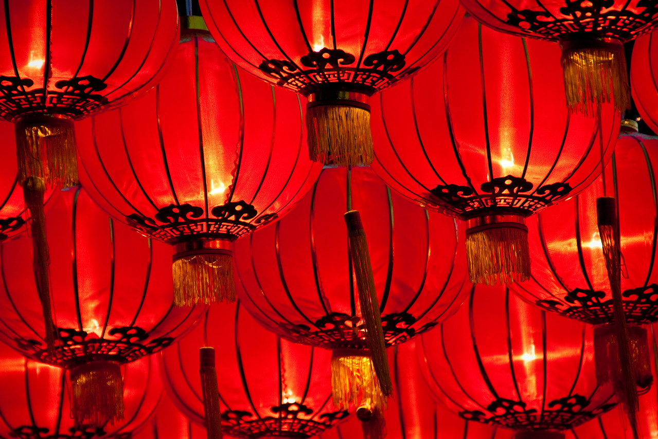 Red lanterns in Chiang Mai for Loy Krathong and Yi Peng festival in 2010, Thailand.