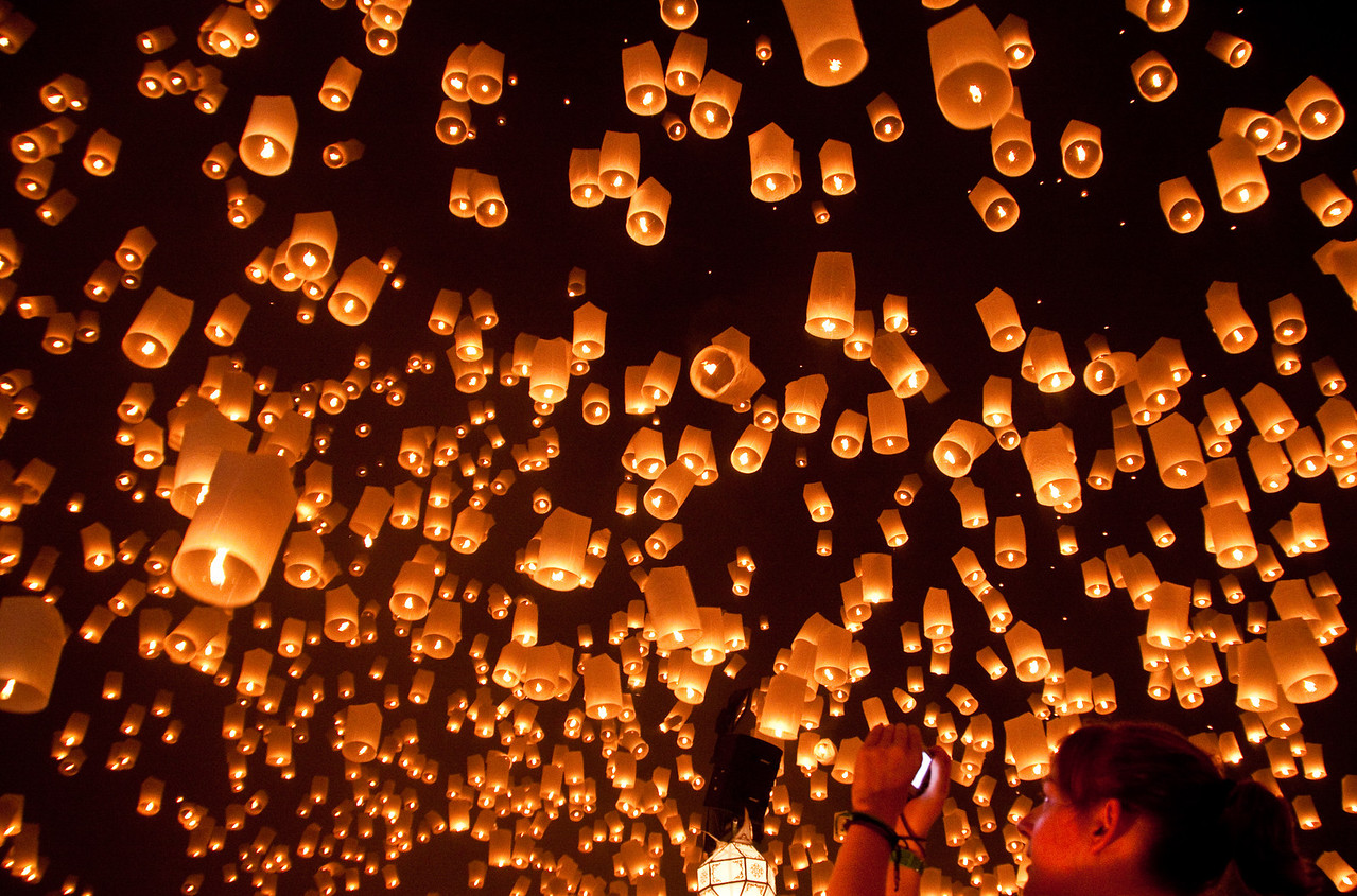 Lanterns released at the same time for the Loy Krathong festival in Mae Jo near Chiang Mai, Thailand