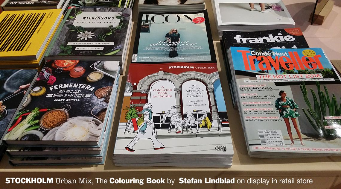 Snickarbacken7, cafe and Store, Stockholm coffee shop and design store, Stockholm urban mix, Coloring book for adults, Colouring for grown-ups, Stefan Lindblad, On display in retail store
