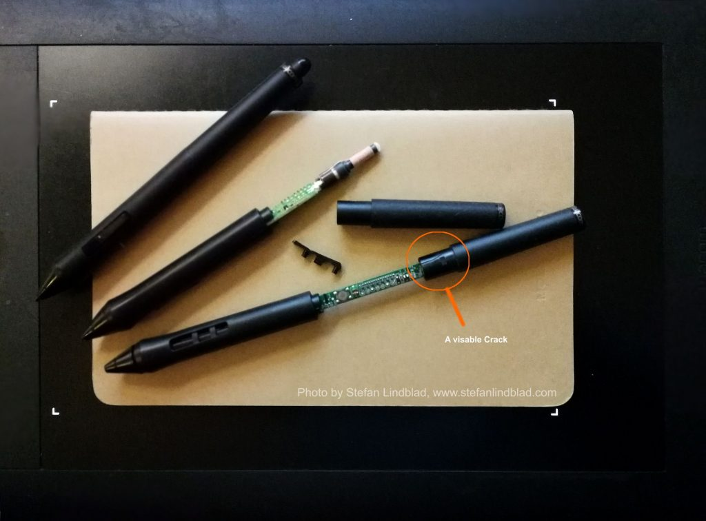 Wacom Art pen, grip pen broken, falling apart, cracked joins