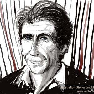Illustratör Stefan Lindblad, drawing, Illustration. Portrait of David Lagercrantz, Stieg Larsson Millenium Writer