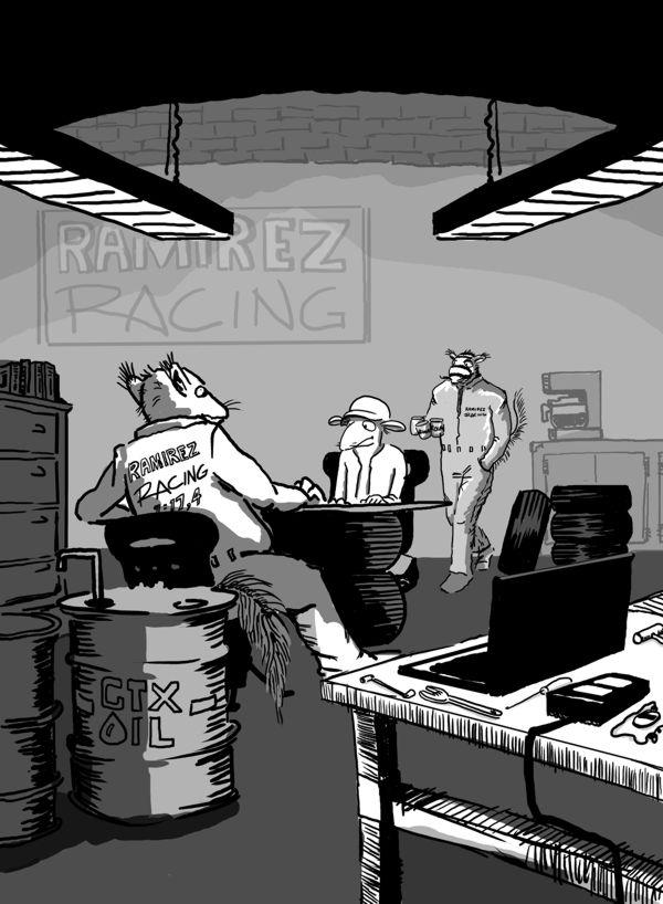 Illustratör Stefan Lindblad, Berghs förlag, boken Rizzo Racerförare, teckning, digital tusch