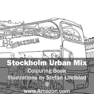 Stefan Lindblad, illustration, Illustratör, Illustration, teckningar, drawings, Corlouring, Coloring Book, Stockholm Urban Mix, Bus, tourists, tourist, Hop on Hop off, Gamla Stan