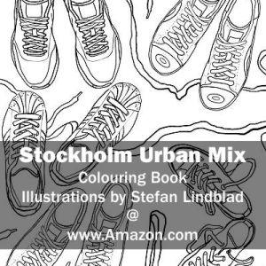 Illustratör, Stefan Lindblad, illustration Illustratör, Illustration, teckningar, drawings, Corlouring, Coloring Book, Stockholm Urban Mix, Sneakers, Gympaskor
