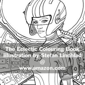 The Eclectic Colouring Book, Stefan Lindblad, illustrationer, Sapce, Woman, Fighter, Austronaut, mosmonaut, Pilot