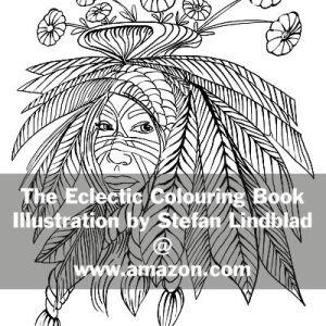 The Eclectic Colouring Book, Stefan Lindblad, illustrationer, woman, head, hat, feathers, flowers, blommor i håret, fjädrar