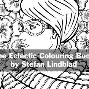 The Eclectic Colouring Book, Stefan Lindblad, illustrationer, woman, kvinna, tjej, glasögon, glasses, shirt haircut, kort frisyr