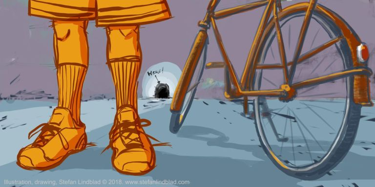Min nya digitala illustration med en man, sneakers och en cykel