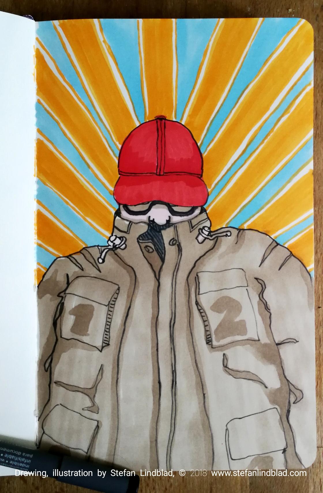 Illustration, Illustratör, Stefan Lindblad, röd, keps, jacka, man i vinterjacka, Stripes, Solstrålar, Moelskine, Steadtler, Unipen, Touch twin markers, tuschpennor