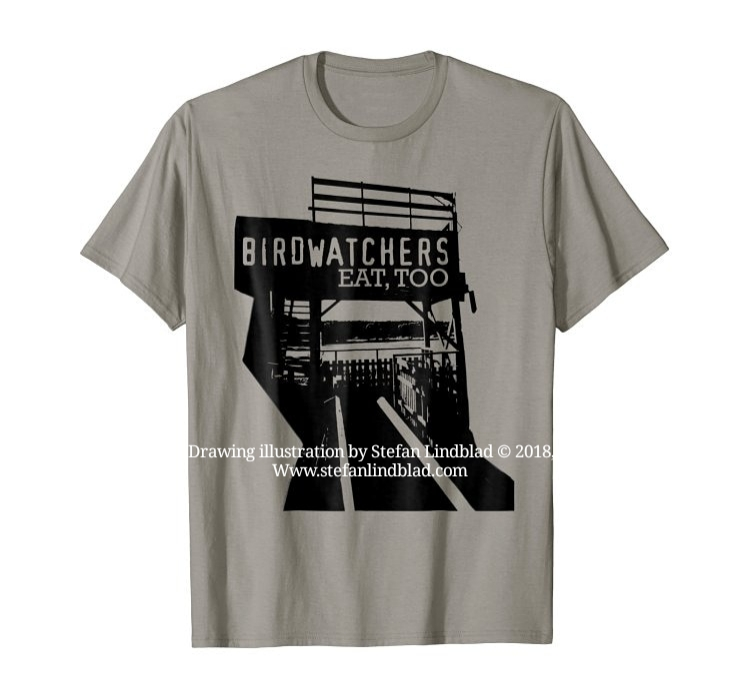 Illustratör, Stefan Lindblad, illustration, Fågelskådning, fågelskådare, Äter, Mat, birdwatchers, Birds, Watching, Illustratör, Stefan Lindblad, Illustration, design, tshirt, t-shirt, Birdwatchers eat too, Amazon Merch, Spreadshirt, Spreadshop