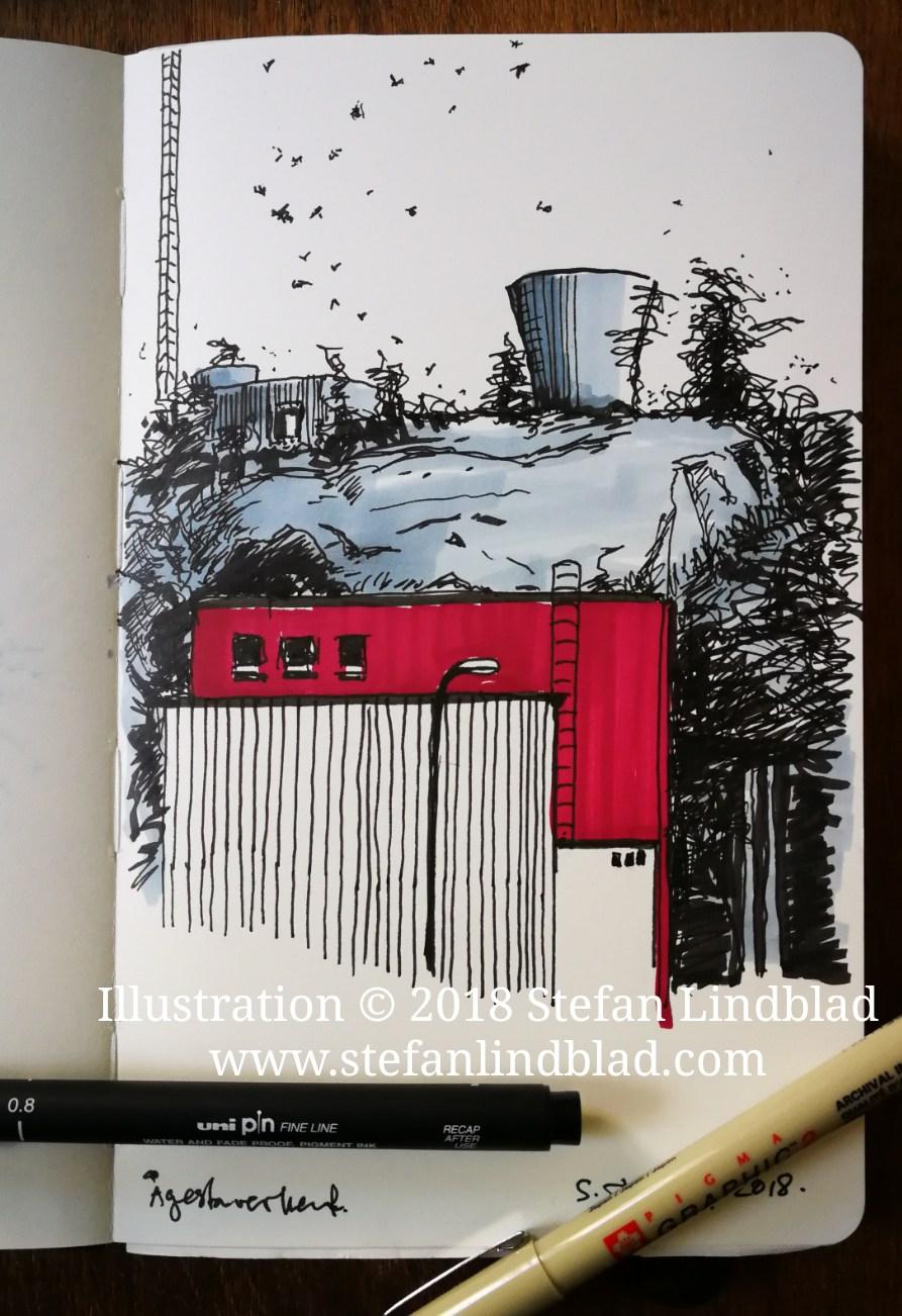 Stefan Lindblad, illustratör, illustrationer, teckningar, Ågesta naturreservat, Ågesta ridskola, Ågestaverket, Svenska kärnvapen