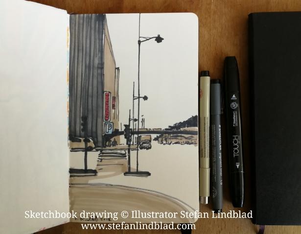 Illustratör, Stefan Lindblad, skissblocket, Stockholm, Vasagatan