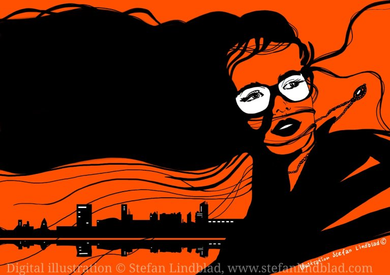 Illustration, kvinna med glasögon, monochrome style med färg i Corel Photo-Paint