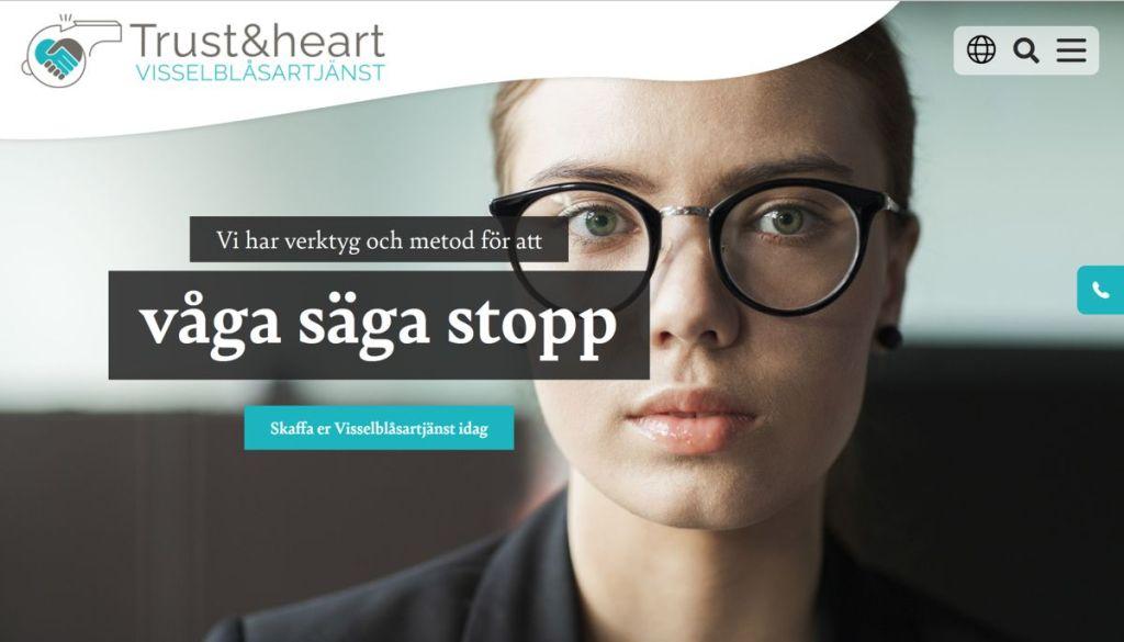 Skärmdump hemsidan Visselblåsartjänsten Trust&heart, Logotypdesign, av illustratör Stefan Lindblad