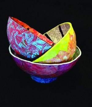 PHOTO | Karen Koch Paper mache bowls made by Karen Koch of Life Needs Art Studio in Hudson