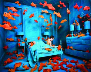 Sandy Skoglund, Revenge of the Goldfish, 1981, Cibachrome print, 27 x 35½ in., Collection of the Akron Art Museum, Museum Acquisition Fund 1982.1