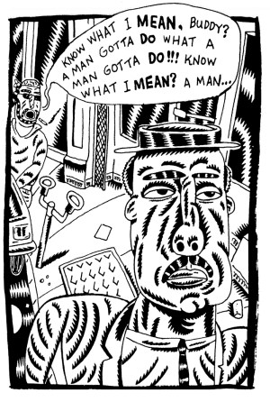 "Derf Backderf, ""A Man Gotta Do,"" 1991, excerpt from ""The City"" comic strip, pen and ink. Courtesy of the artist."