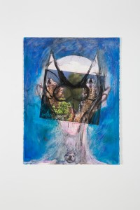 Huma Bhabha, Untitled, 2015, ink, pastel, acrylic paint, and collage on paper, 30 x 22 inches. Courtesy of the artist and Salon 94, New York.