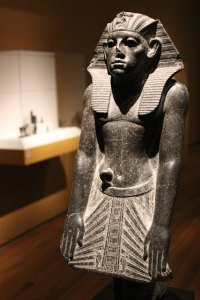 Statue of Amenemhat III in a devotional pose, dating back to about 1859 to 1814 B.C.