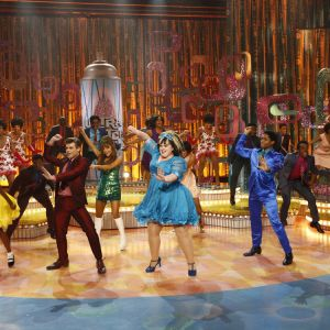 Garrett Clayton as Link Larkin, at left, Ariana Grande as Penny Pingleton, Maddie Baillio as Tracy Turnblad, Ephraim Sykes as Seaweed J. Stubbs. Photo | Justin Lubin, NBC