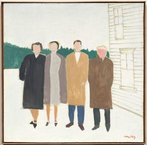"""Four People,"" 1953–54. Alex Katz (American, b. 1927). Oil on Masonite; 60.9 x 60.9 cm. The Cleveland Museum of Art, Seventy-fifth anniversary gift of the artist 1991.310. Art © Alex Katz / Licensed by VAGA, New York, NY."