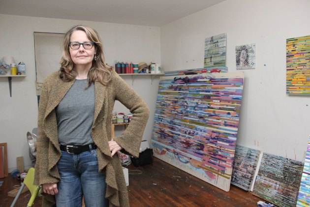 Lane Cooper says she's always working on multiple works of art at any given time, as evidenced by the contents of her studio in Cleveland's Waterloo Arts District.