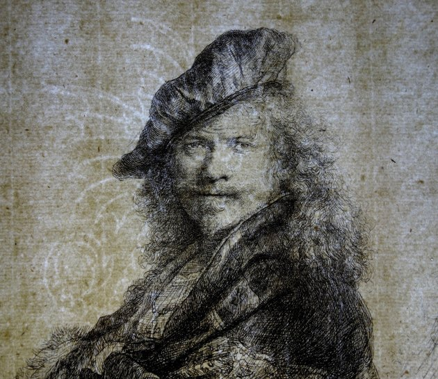 """""""Self-Portrait Leaning on a Stone Sill"""" by Rembrandt Harmenszoon van Rijn, 1639; etching, with touches of drypoint, retouched in black chalk. Collection of Yale University Art Gallery. Transmitted light photograph courtesy of Theresa Fairbanks-Harris. Image courtesy of the Allen Memorial Art Museum."""